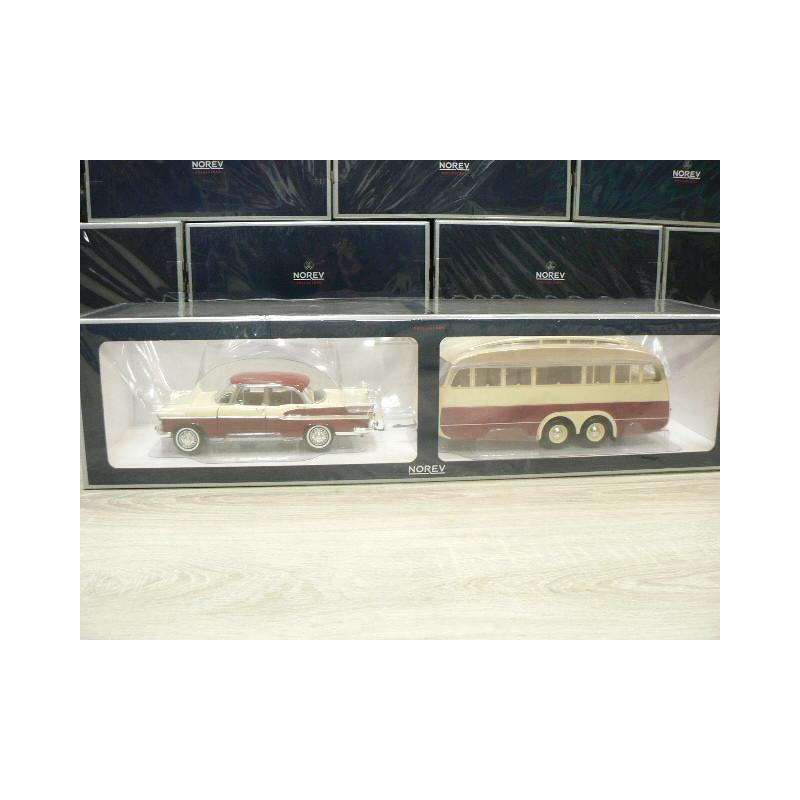 Simca Vedette Chambord 1958 /& Caravan Henon Cardinal red /& Ivory 1:18 Norev